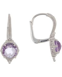 Judith Ripka Sterling Silver Small Round Eclipse Earrings - Metallic