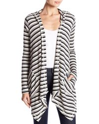 Splendid - Striped Drape Front Cardigan - Lyst