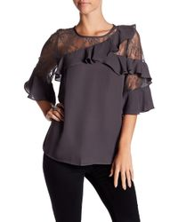 Pleione - Lace & Ruffle Sleeve Blouse - Lyst