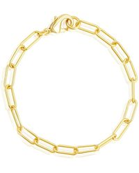 Adornia 14k Gold Plated Paper Clip Chain Bracelet - Yellow
