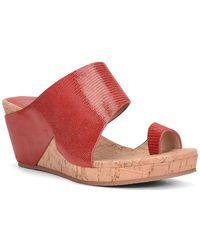 Donald J Pliner Gretta Leather Lizard Print Wedge Sandal - Red