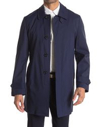 JB Britches Solid Rain Trench Coat - Blue