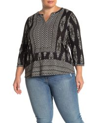 Lucky Brand Geo Printed Blouse (plus Size) - Black