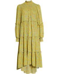 Cinq À Sept - Rika Long Sleeve High/low Mid Dress - Lyst