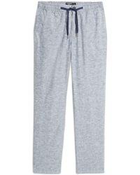 Nordstrom Nordstrom Linen & Cotton Blend Drawstring Pants - Blue