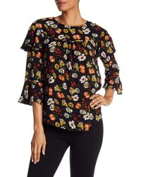 Pleione - Double Ruffle Sleeve Floral Print Blouse - Lyst