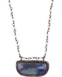 Adornia Diamond Halo Framed Blue Sapphire Stone Pendant Necklace