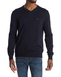 Tommy Hilfiger Taft Solid V-neck Sweater - Blue