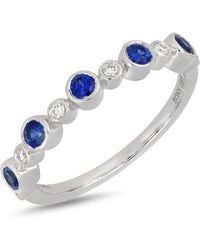 Bony Levy - 18k White Gold Bezel Set Diamond & Sapphire Ring - Lyst
