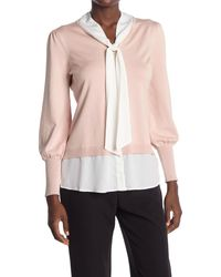 Adrianna Papell Puff Sleeve Tie Neck Twofer - Pink