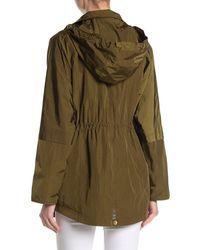 Cole Haan Crinkle Hooded Rain Jacket - Green