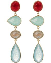 Argento Vivo - 18k Gold Plated Sterling Silver Multishape Multicolour Stone Drop Earrings - Lyst