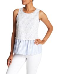 Pleione - Lace Overlay Tank - Lyst