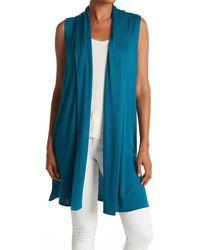 Isaac Mizrahi New York Shawl Collar Knit Vest - Blue