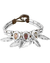 Uno De 50 Picoteo Feather Charm Leather Bracelet In Silver-multicolor At Nordstrom Rack - Metallic