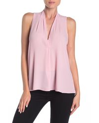 Lush Sleeveless Pleated Top - Pink