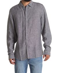Report Collection Linen Solid Slim Fit Sport Shirt - Gray