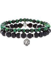 Steve Madden Beaded Malachite & Oxidized Charm Bracelets - Set Of 2 - Green