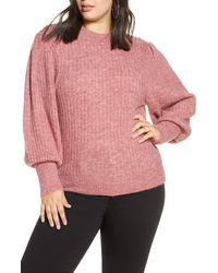 Leith Ribbed Puff Shoulder Sweater - Pink