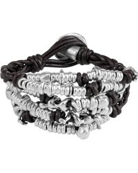 Uno De 50 Cheetah Beaded Cluster Braided Leather Bracelet - Metallic