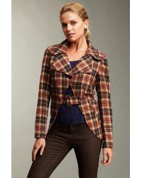 Hazel Check Pattern Jacket - Brown
