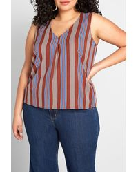 ModCloth Genuine Self Stripe Print Blouse - Blue