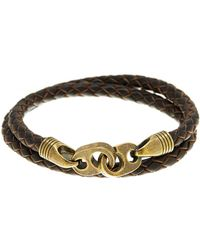 Link Up - Brown Leather Double Wrap Bracelet - Lyst