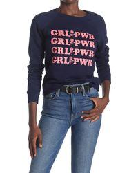 Rebecca Minkoff Grl Pwr Raglan Sleeve Sweatshirt - Blue
