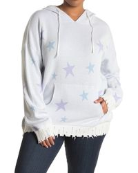 Fate Star Print Distressed Hooded Sweater - Blue