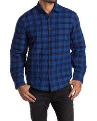 Thomas Dean Plaid Crinkled Shirt Jacket - Blue