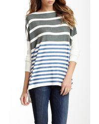 Go Couture Printed Elbow Patch High/low Sweater - White
