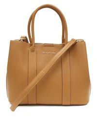 Suzy Levian Pebbled Faux Leather Satchel Handbag - Brown