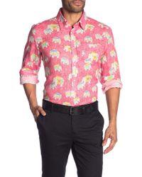 Michael's Swimwear Elephant Print Linen Shirt - Pink