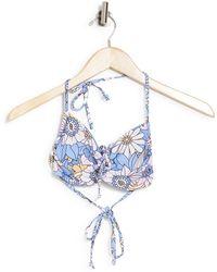 VYB Groovy Cinched Floral Print Bandeau Bikini Top - Blue