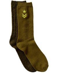Steve Madden - Military Embroidered Boot Socks - Pack Of 2 - Lyst