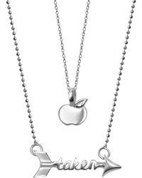 Alex Woo | Little Words Sterling Silver Apple & Taken Arrow Pendant 2-piece Necklace Set | Lyst