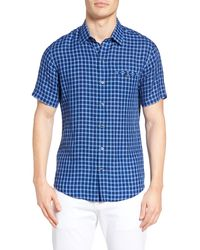 Zachary Prell Ray Plaid Linen Sport Shirt - Blue
