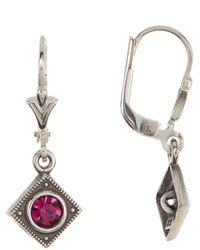 Argento Vivo Sterling Silver Square Drop Earrings - Metallic
