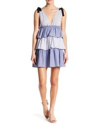 Romeo and Juliet Couture - V-neck Stripe Tiered Dress - Lyst