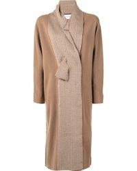 Alexis Pattern Knit Detail Knit Coat - Brown
