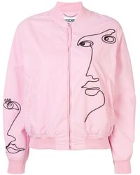 Moschino Cornely Embroidered Bomber Jacket - Pink