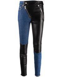 Moschino Contrasting-panel Skinny Pants - Blue