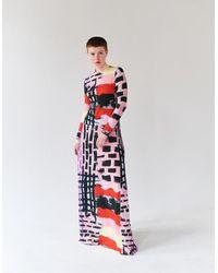 Tereza Rosalie Kladosova Patchwork Long Dress Lila - Multicolor