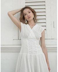 Akosée Leah Corset Dress - White