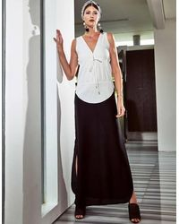Akosée Olga Maxi Dress In Two Tone - Black