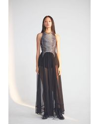 JENN LEE Corset Long Denim Dress - Black