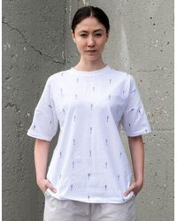 BISKIT 'astro' Printed Drop Shoulder T-shirt - White