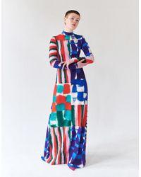 Tereza Rosalie Kladosova Patchwork Long Dress - Blue