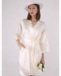NOT JUST PAJAMA | Poppy Flowers Lace-trimmed Robe - White