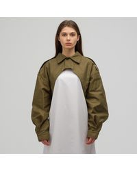 Hyke Woven Cutout Field Jacket - Green